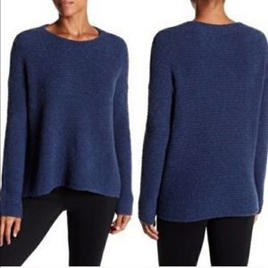 Vince Blue Oversized Wool Cashmere Ribbed Sweater